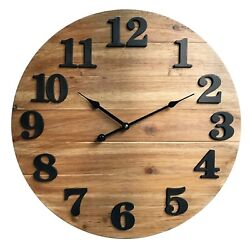 Oversized Wall Clock 20 inch Large Natural Wooden Kitchen Decor Numerals Rustic