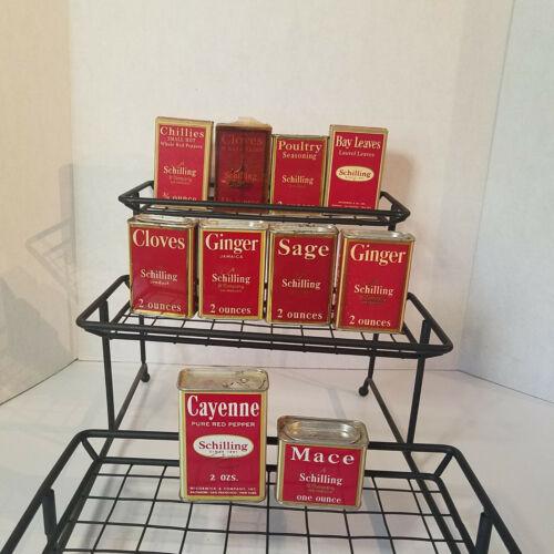 10 Vintage Schilling & Company San Francisco Spice Tins, Cloves, Mace, Cayenne +