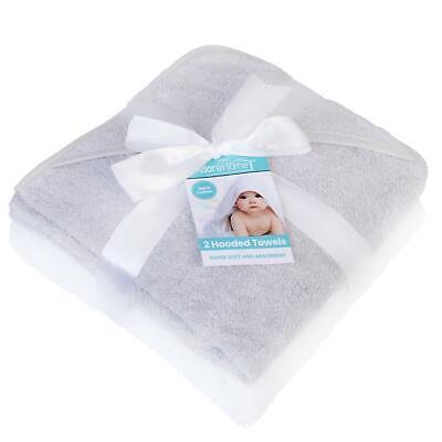2 x Hooded Baby Towel Soft 100% Cotton Bath Wrap, Grey & White