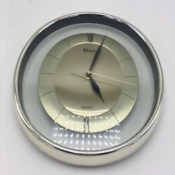 Vintage Roxisal Gold Clear Wall Clock Works Quartz MCM Mid Century Oval T95-1003