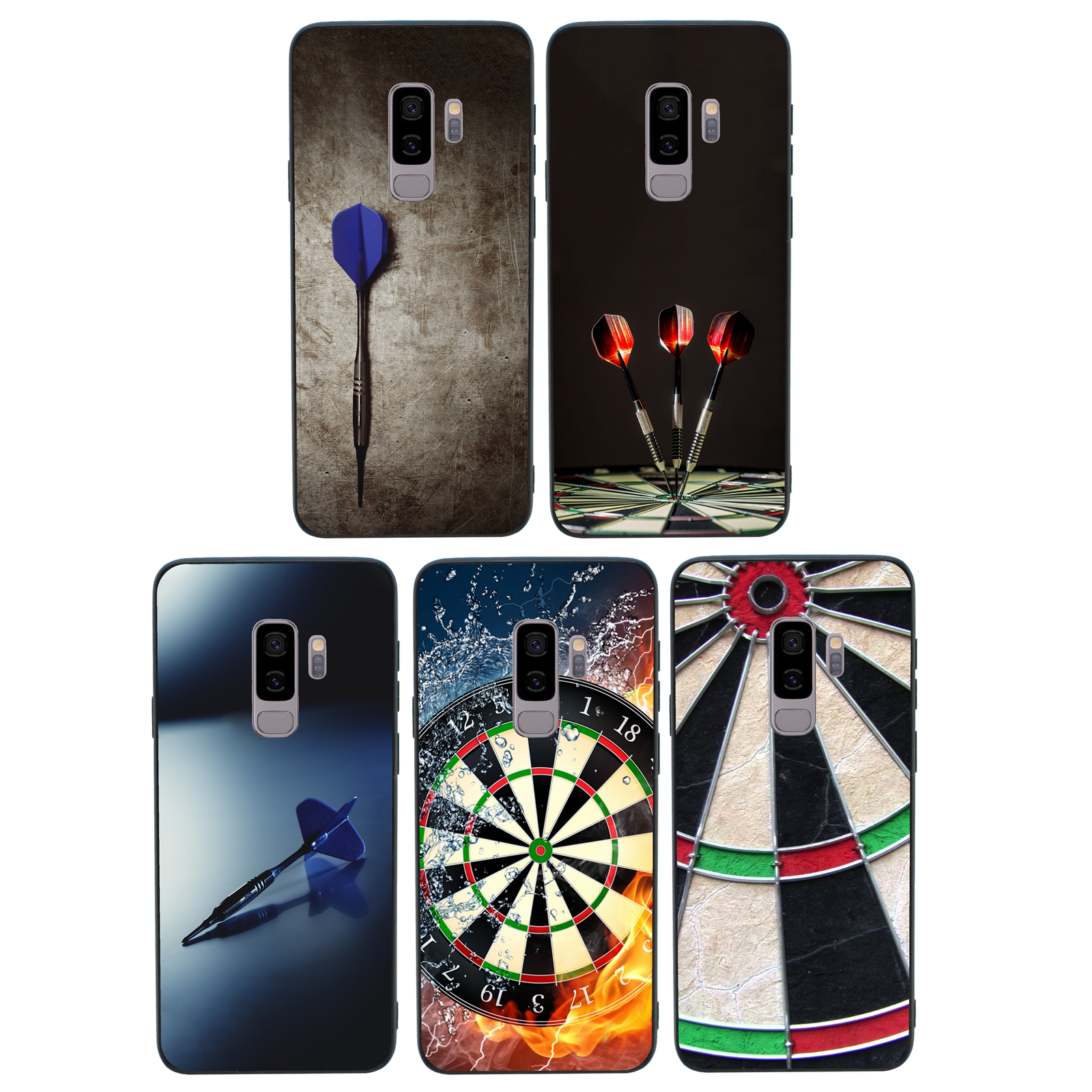 Darts Case Glass Back Bumper Cover for Samsung Galaxy S8 S9 S10 EDGE PLUS