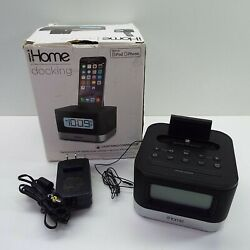iHome iPL8BN Dual Alarm FM Clock Radio w/ Lightning Dock iPhone w/ USB Charging