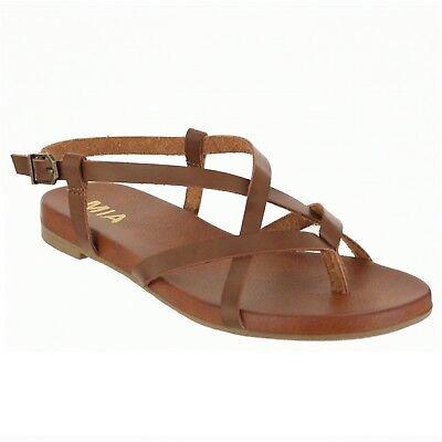 Women MIA LYNN Cognac Flat Strappy Gladiator-Style Sandal Shoes