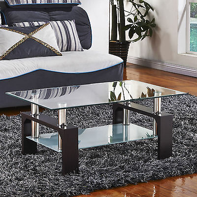 تربيزه جديد New Black Rectangular Glass Coffee Table Shelf Wood Chrome Living Room Furniture