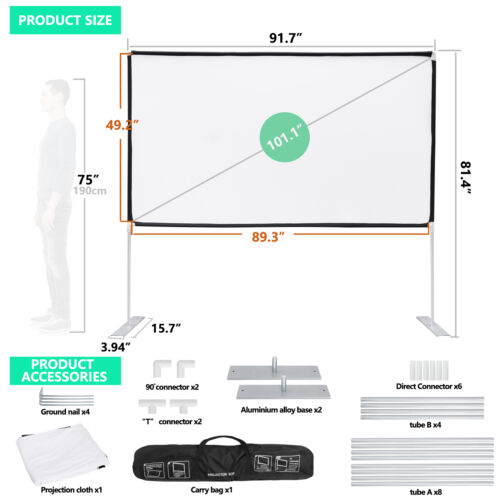 Projector Screen with Stand 100 inch Portable Projection Screen 16:9 4K Theater Consumer Electronics
