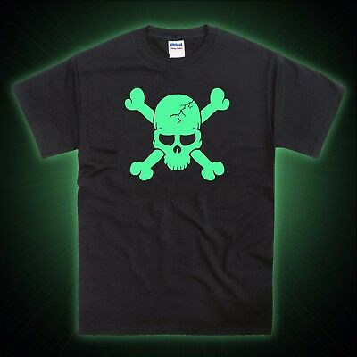 Skull Skeleton Crossbones Halloween Glow in the Dark T-Shirt ()