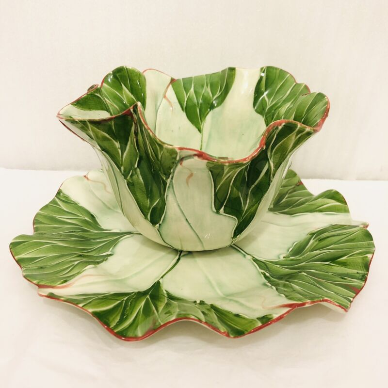 Mustardseed & Moonshine Originals Lettuce Leaf Pottery Bowl and Plate Set Rare