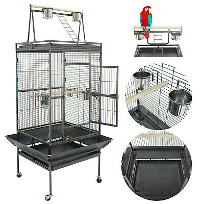 Large Bird Cages Play Top Parrot Finch Aviary Supplies w/Stand Ladder Wheel 68""