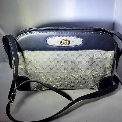 Vintage GUCCI BAG Navy Blue Leather Crossbody PURSE BAG as is