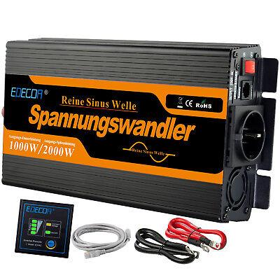 Reiner Sinus Spannungswandler 1000W 2000 Watt 12V 230V Wechselrichter Konverter