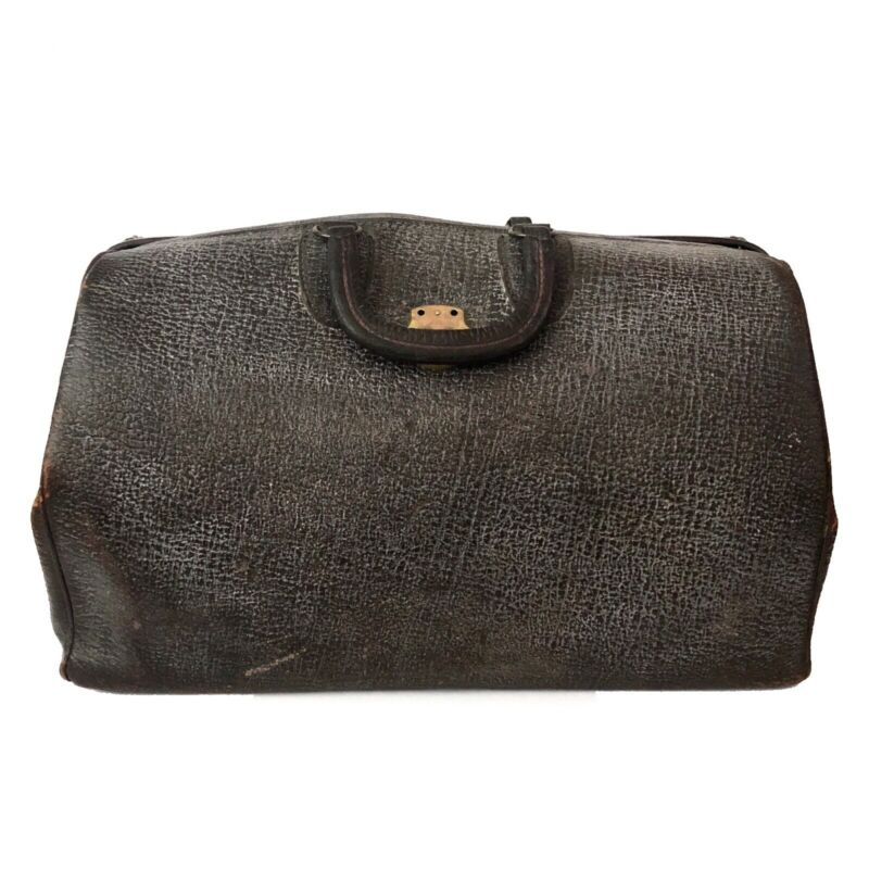 Antique Vintage Large Medical Doctor Bag Dark Brown Genuine Cowhide Leather