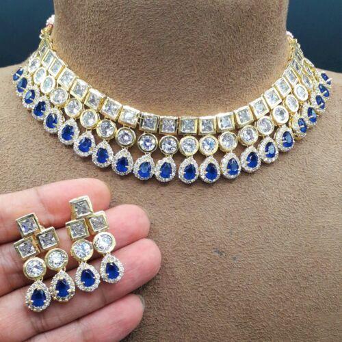 CZ Bollywood Indian Gold Tone Bridal Wedding AD Blue Choker Necklace Jewelry Set