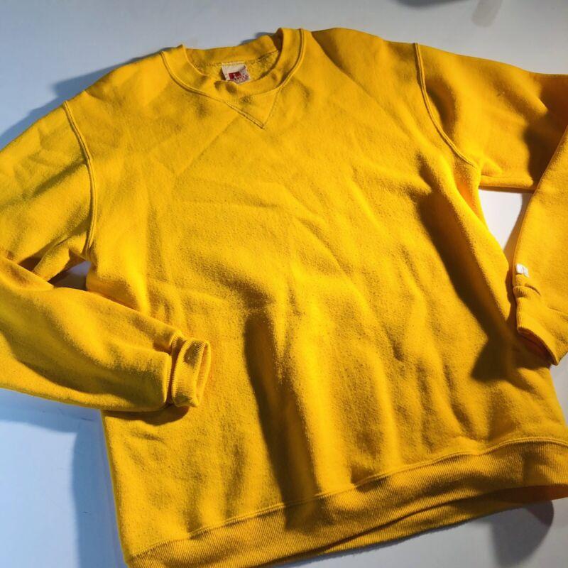 Russell Sportswear Vintage 70s Mustard crew neck Sweatshirt Men