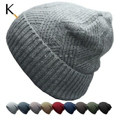 Fleece Unisex Knit Baggy Beanie Winter Ski Slouchy Cuff Cap Solid Hat Skull Fleece Cuff Cap