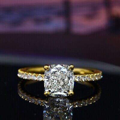 Fine 2.05 Ct Cushion Cut Diamond Pave Solitaire Engagement Ring 14K  I, IF GIA  4