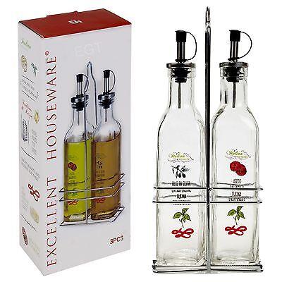 3 Pcs Italian Home Oil & Vinegar Glass Bottle Cruet Dispenser Holder Rack 250ML