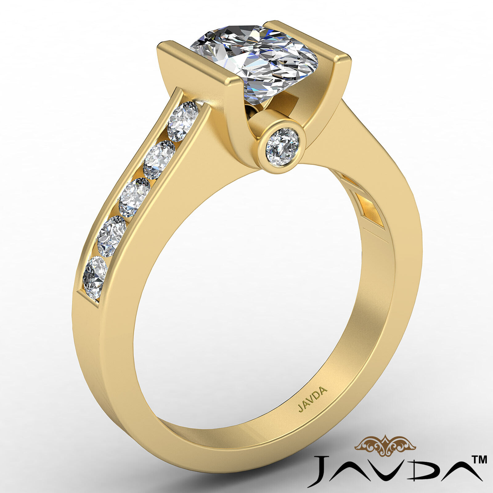 Oval Diamond Engagement Bezel Setting Ring GIA, E Color & SI2 clarity 1.4 ctw. 4
