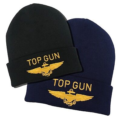 Top Gun Gold Embroidered Pilots Wings Winter Beanie Hat (Navy or Black) ()