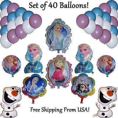 40 Pc Frozen Balloon Set Princess Elsa Anna Olaf Birthday Party Globo Cumpleanos
