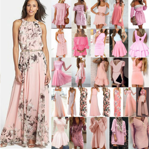 Damen Rosa Kleid Minikleid Boho Sommer Strand Party Abend Cocktail Maxikleider