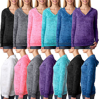 Burnout Hooded Tee (Next Level Ladies Burnout Hoodie Womens Hooded T Shirt S-2XL)