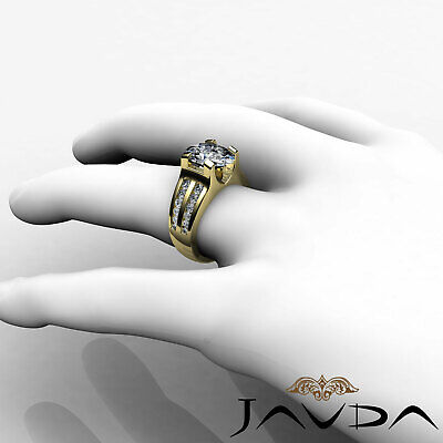 2 Row Channel Prong Setting Oval Diamond Engagement Ring GIA I Color SI1 1.62Ct 10