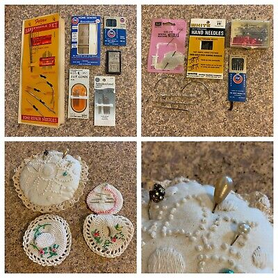 Vintage Sewing Notions Lot Needles Hat Pins Needle Crochet Holders