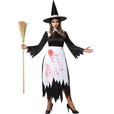 Kostüm Damen Hexe mit Hut Fasching Karneval Halloween Witch Kleid Blut (Kostüme Mit Hut)