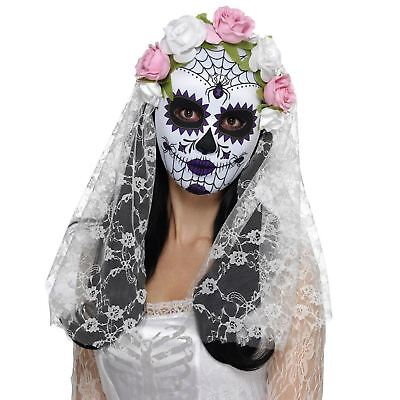 Sugar Skull Bride Costume (Adult Ladies Day of the Dead Sugar Skull Bride Mask Veil Halloween Accessory)