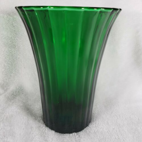 Vintage NAPCO Emerald Green Ribbed Vase 1161 Cleveland Ohio USA