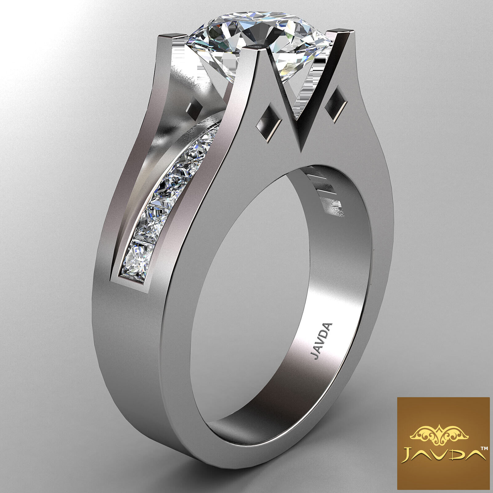 2.35ct Round Diamond Ideal Engagement GIA F VS1 14k White Gold Channel Set Ring 2