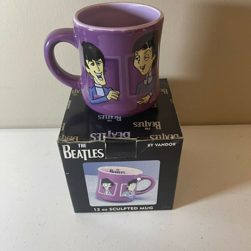Vandor The Beatles Cartoon Sculpted Ceramic 12oz Coffee Mug MIB #64163