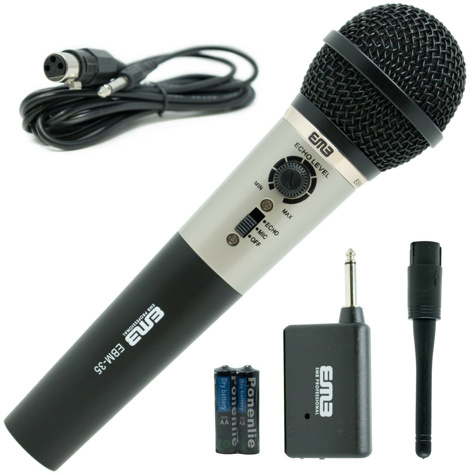 EMB Professional Handheld Wireless Microphone W/ Echo   For