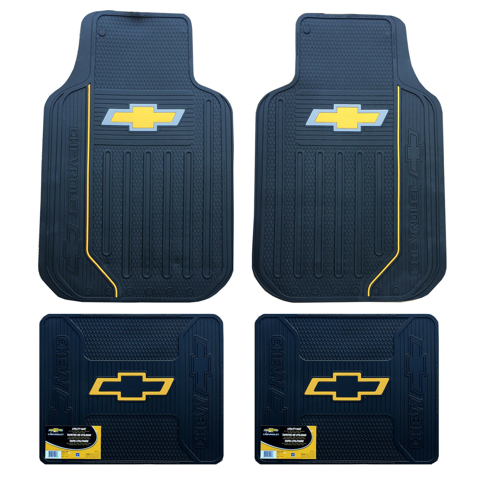New 4pc Chevy Elite Bowtie Logo Front Back Heavy Duty Rubber