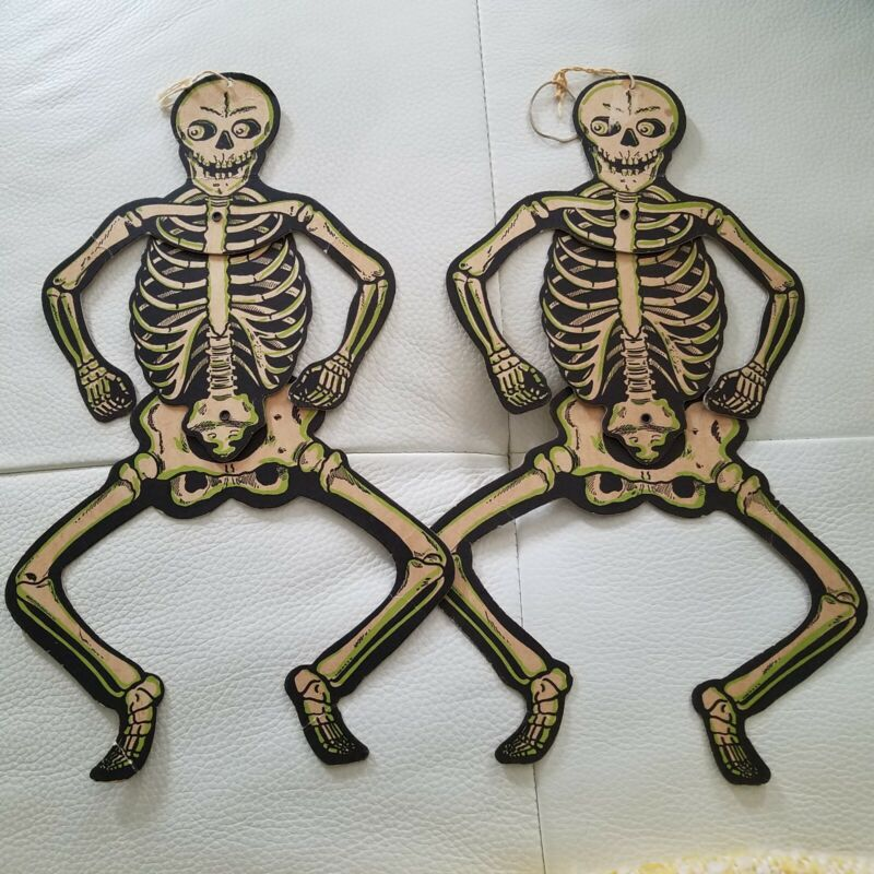 Two Vintage Halloween Dancing Skeletons Beistle USA Articulated