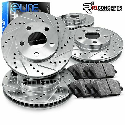 For BMW 640i, 640i Gran Coupe Front Rear  Drill Slot Brake Rotors+Ceramic Pads