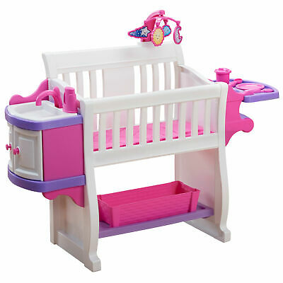 American Plastic Toys My Very Own Nursery Kids Baby Doll Crib Play Set, Pink