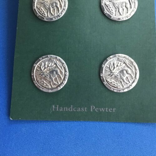 VINTAGE PEWTER BUTTONS, HANDMADE BUTTONS BY THREE FEATHERS PEWTER MOOSE BUTTONS