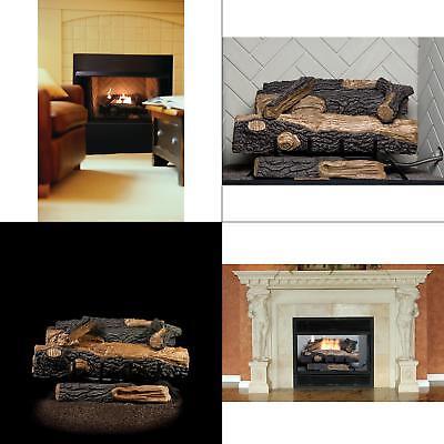 Ventless Gas Fireplace Log Grate Decorative Insert Propane Fire Set Temp Control ()