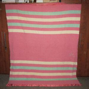 Vtg Baron Woolen Mills Rising Sun Striped Wool Blanket 82
