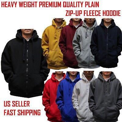 BIG AND TALL Hooded Zip Up Plain Black Sweatshirt Hoodie Fleece Blank -