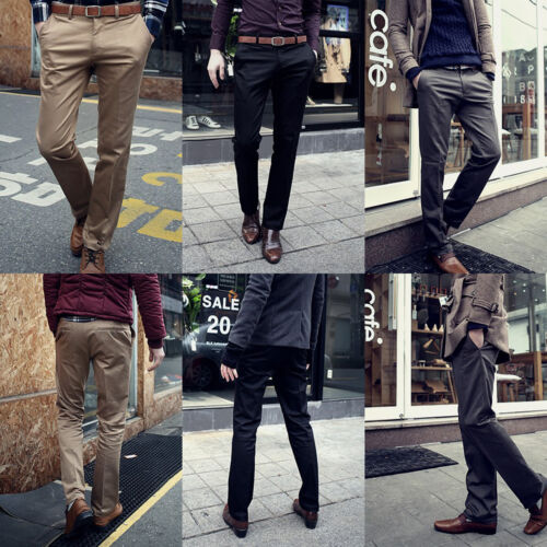 Men Formal Business Dress Pants Slim Straight Leg Casual Office Trousers Suit Clothing, Shoes & Accessories