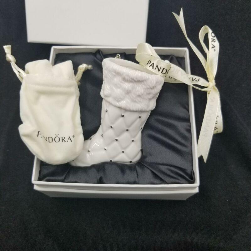 Pandora Santa Christmas Stocking Boot Ornament 2012 RibbonSilk Box Pouch New
