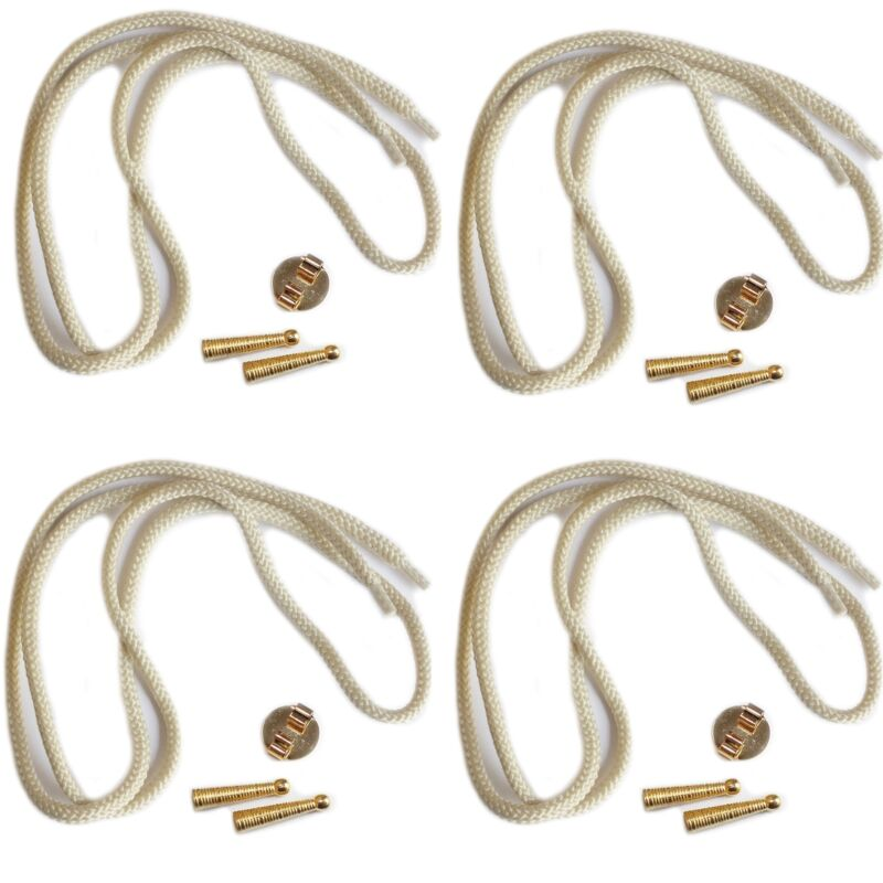 Blank Bolo Tie Parts Kit Round Slide Textured Tips Natural Cord Goldtone Pk/4