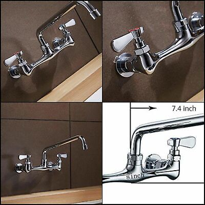 Homevacious Kitchen Sink Faucet Commercial 2 Dual Handle Laundry Faucet 8 Inch