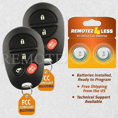 2 For 2004 2005 2006 2007 2008 2009 Toyota Sienna Keyless Remote Car Key Fob