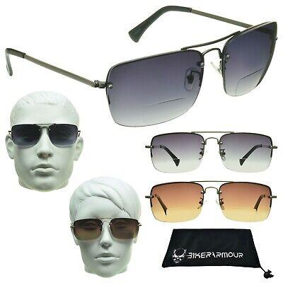 BIFOCAL Gradient Lens Square Aviator Military Pilot Sun Reader Sunglasses