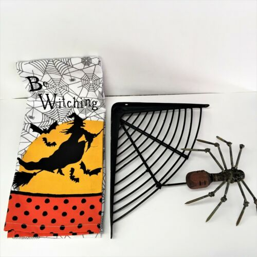 Primitive Halloween Decoration Vintage Metal Folk Art Soldered Scrap Spider Web