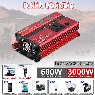 Convertidor Inversor de Corriente 600W 3000W 12V DC a 220V AC Transformador+USB