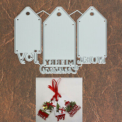 Merry Christmas Noel and Joy Gift Tags Cutting Dies - 3 Piece Set Holiday Words Merry Christmas Gift Tags